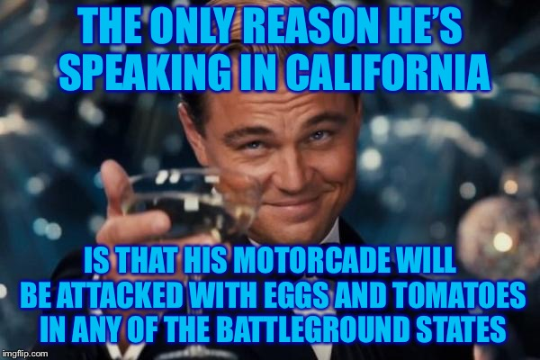 Leonardo Dicaprio Cheers Meme | THE ONLY REASON HE'S SPEAKING IN CALIFORNIA IS THAT HIS MOTORCADE WILL BE ATTACKED WITH EGGS AND TOMATOES IN ANY OF THE BATTLEGROUND STATES | image tagged in memes,leonardo dicaprio cheers | made w/ Imgflip meme maker