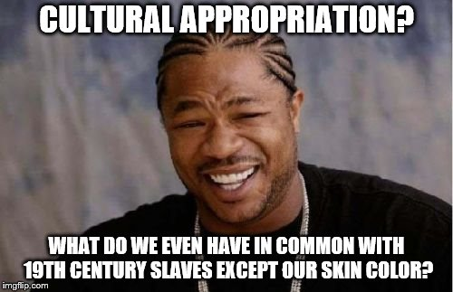 Yo Dawg Heard You Meme | CULTURAL APPROPRIATION? WHAT DO WE EVEN HAVE IN COMMON WITH 19TH CENTURY SLAVES EXCEPT OUR SKIN COLOR? | image tagged in memes,yo dawg heard you | made w/ Imgflip meme maker