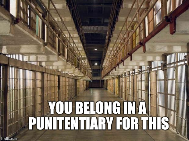 Prison | YOU BELONG IN A PUNITENTIARY FOR THIS | image tagged in prison | made w/ Imgflip meme maker