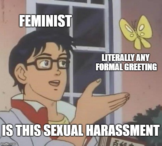 Is This A Pigeon Meme | FEMINIST LITERALLY ANY FORMAL GREETING IS THIS SEXUAL HARASSMENT | image tagged in memes,is this a pigeon | made w/ Imgflip meme maker