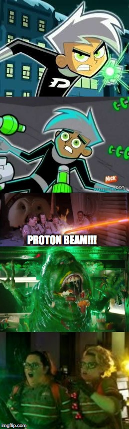 Ghostbusters turns Danny into Slimer and surprises Addy and Holtzmann | PROTON BEAM!!! | image tagged in ghostbusters reboot,ghostbusters,danny phantom,funny memes,surprise | made w/ Imgflip meme maker