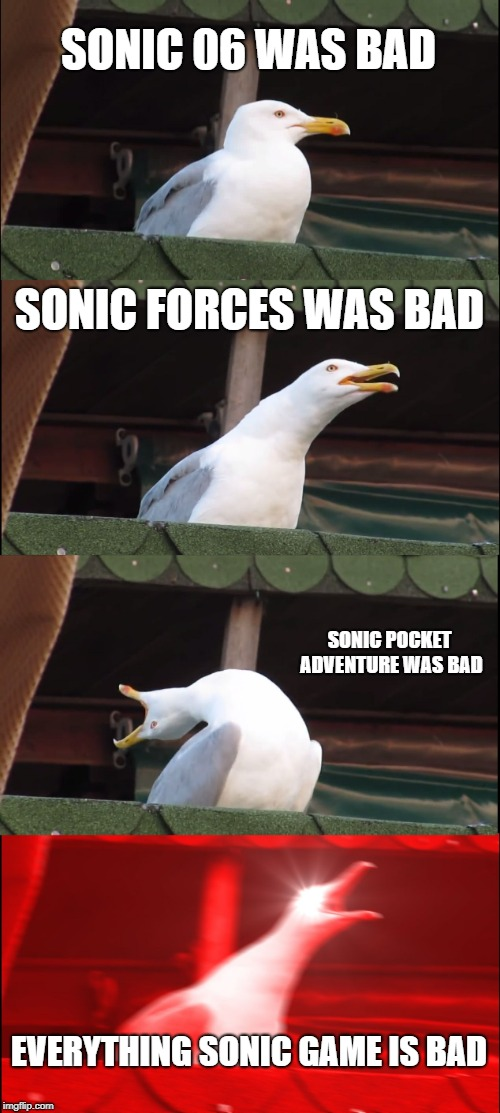 Inhaling Seagull Meme | SONIC 06 WAS BAD SONIC FORCES WAS BAD SONIC POCKET ADVENTURE WAS BAD EVERYTHING SONIC GAME IS BAD | image tagged in memes,inhaling seagull | made w/ Imgflip meme maker