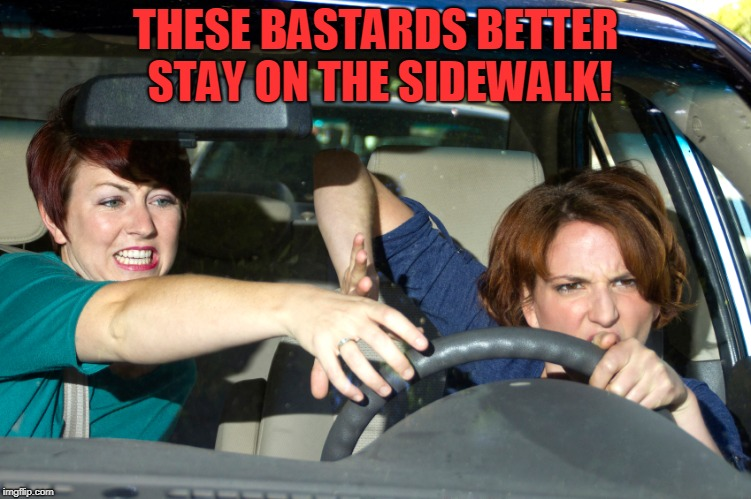 bad driving | THESE BASTARDS BETTER STAY ON THE SIDEWALK! | image tagged in bad driving | made w/ Imgflip meme maker