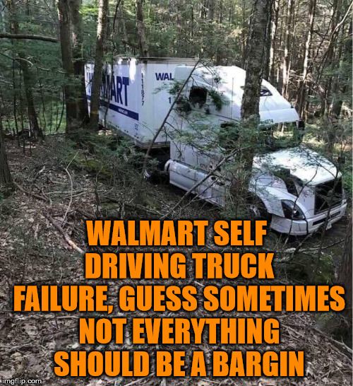When I think of self driving, this comes to mind often. |  WALMART SELF DRIVING TRUCK FAILURE, GUESS SOMETIMES NOT EVERYTHING SHOULD BE A BARGIN | image tagged in memes,walmart,bad drivers,driving,fail,funny | made w/ Imgflip meme maker