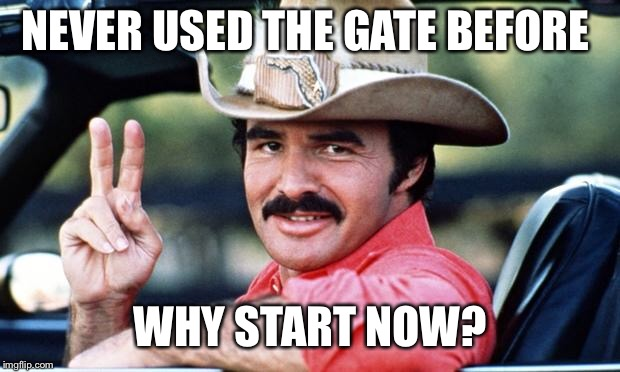 Burt Reynolds | NEVER USED THE GATE BEFORE WHY START NOW? | image tagged in burt reynolds | made w/ Imgflip meme maker