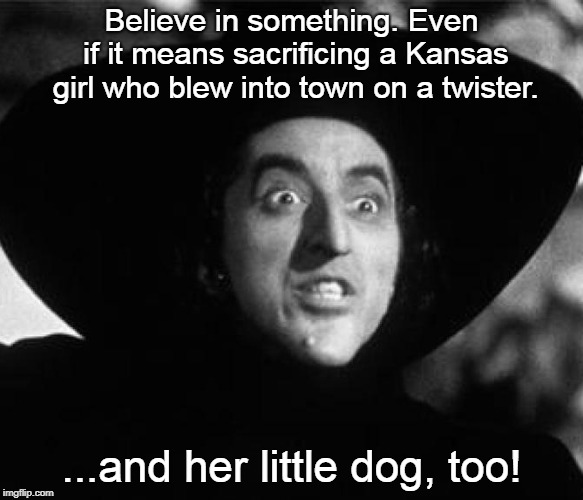 "And with a mighty ""Swoosh!"" she flew away on her broom. 