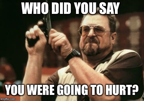 John Goodman | WHO DID YOU SAY YOU WERE GOING TO HURT? | image tagged in john goodman | made w/ Imgflip meme maker