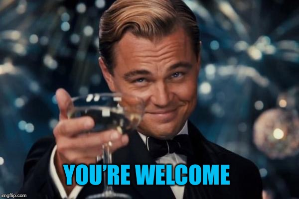 Leonardo Dicaprio Cheers Meme | YOU'RE WELCOME | image tagged in memes,leonardo dicaprio cheers | made w/ Imgflip meme maker