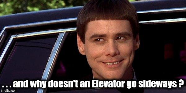 dumb and dumber | . . . and why doesn't an Elevator go sideways ? | image tagged in dumb and dumber | made w/ Imgflip meme maker