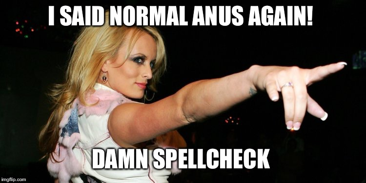 Stormy Daniels | I SAID NORMAL ANUS AGAIN! DAMN SPELLCHECK | image tagged in stormy daniels | made w/ Imgflip meme maker