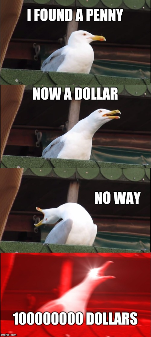 Inhaling Seagull Meme | I FOUND A PENNY NOW A DOLLAR NO WAY 100000000 DOLLARS | image tagged in memes,inhaling seagull | made w/ Imgflip meme maker