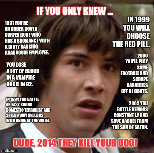 If You Could See What Your Future Holds! | IN 1999 YOU WILL CHOOSE THE RED PILL. DUDE, 2014 THEY KILL YOUR DOG! IF YOU ONLY KNEW ... 2005 YOU BATTLE DEMONS CONSTANT LY AND SAVE RACHEL | image tagged in memes,conspiracy keanu,in the future,psychic,holy shit,meme | made w/ Imgflip meme maker