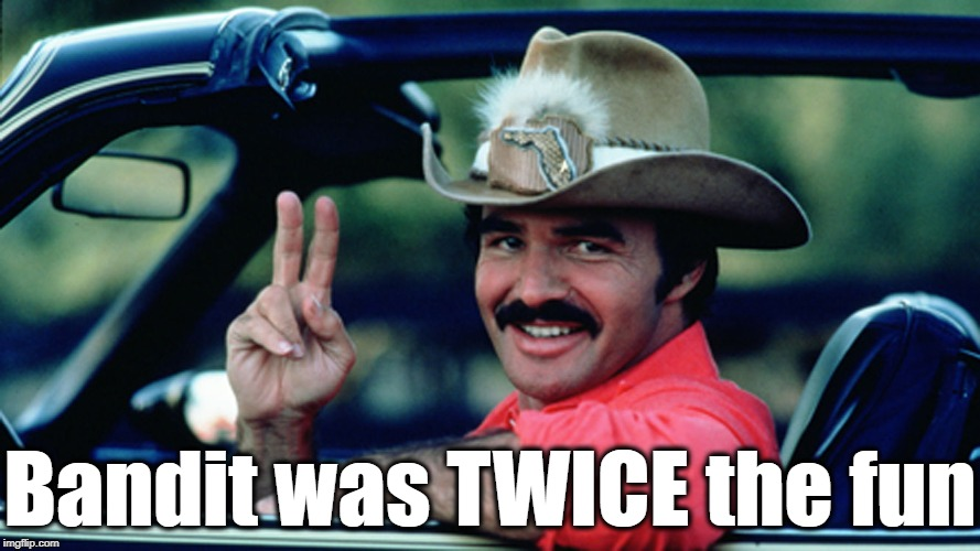 Burt Reynolds as The Bandit | Bandit was TWICE the fun | image tagged in burt reynolds as the bandit | made w/ Imgflip meme maker