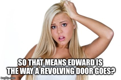 Dumb blonde | SO THAT MEANS EDWARD IS THE WAY A REVOLVING DOOR GOES? | image tagged in dumb blonde | made w/ Imgflip meme maker