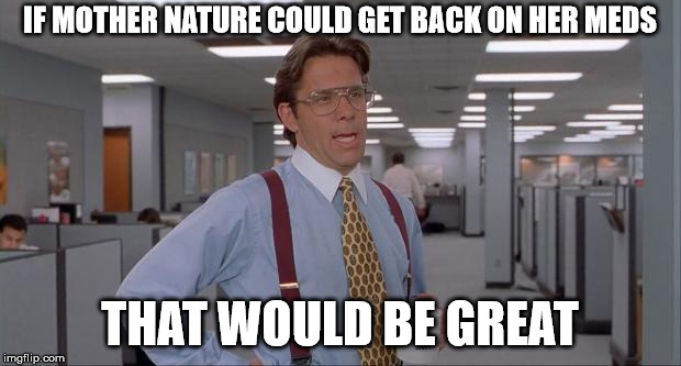 Seriously...Just over it | IF MOTHER NATURE COULD GET BACK ON HER MEDS THAT WOULD BE GREAT | image tagged in that would be great,weather,climate change,wildfires,hurricanes,flooding | made w/ Imgflip meme maker