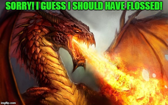 Fire breathing dragon  | SORRY! I GUESS I SHOULD HAVE FLOSSED! | image tagged in fire breathing dragon | made w/ Imgflip meme maker