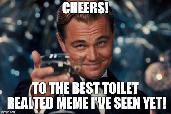 Leonardo Dicaprio Cheers Meme | CHEERS! TO THE BEST TOILET REALTED MEME I'VE SEEN YET! | image tagged in memes,leonardo dicaprio cheers | made w/ Imgflip meme maker