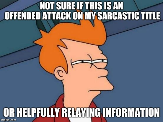 Futurama Fry Meme | NOT SURE IF THIS IS AN OFFENDED ATTACK ON MY SARCASTIC TITLE OR HELPFULLY RELAYING INFORMATION | image tagged in memes,futurama fry | made w/ Imgflip meme maker