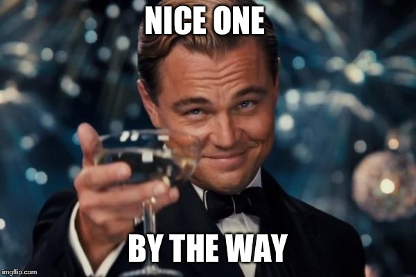 Leonardo Dicaprio Cheers Meme | NICE ONE BY THE WAY | image tagged in memes,leonardo dicaprio cheers | made w/ Imgflip meme maker