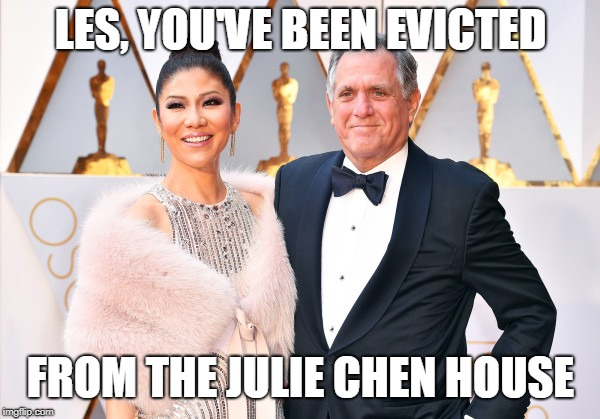 With a unanimous vote... | LES, YOU'VE BEEN EVICTED FROM THE JULIE CHEN HOUSE | image tagged in big brother,me too | made w/ Imgflip meme maker