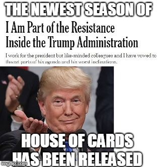THE NEWEST SEASON OF HOUSE OF CARDS HAS BEEN RELEASED | image tagged in trump house of cards meme | made w/ Imgflip meme maker