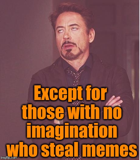 Face You Make Robert Downey Jr Meme | Except for those with no imagination who steal memes | image tagged in memes,face you make robert downey jr | made w/ Imgflip meme maker