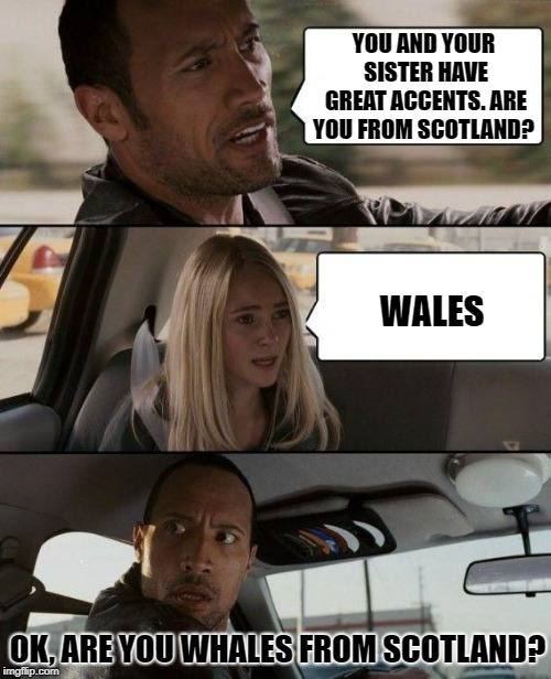 Nice Accent, Lady | YOU AND YOUR SISTER HAVE GREAT ACCENTS. ARE YOU FROM SCOTLAND? WALES OK, ARE YOU WHALES FROM SCOTLAND? | image tagged in memes,the rock driving | made w/ Imgflip meme maker
