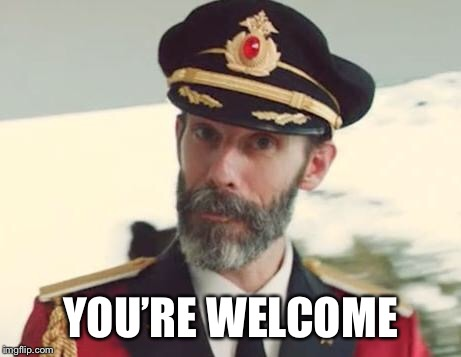 Captain Obvious | YOU'RE WELCOME | image tagged in captain obvious | made w/ Imgflip meme maker
