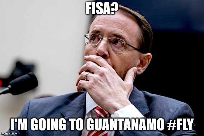 FISA? I'M GOING TO GUANTANAMO #FLY | image tagged in rod rosenstein | made w/ Imgflip meme maker