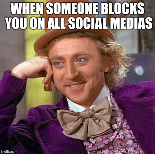 Creepy Condescending Wonka Meme | WHEN SOMEONE BLOCKS YOU ON ALL SOCIAL MEDIAS | image tagged in memes,creepy condescending wonka | made w/ Imgflip meme maker