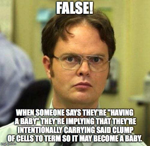 "False | FALSE! WHEN SOMEONE SAYS THEY'RE ""HAVING A BABY"" THEY'RE IMPLYING THAT THEY'RE INTENTIONALLY CARRYING SAID CLUMP OF CELLS TO TERM SO IT MAY  