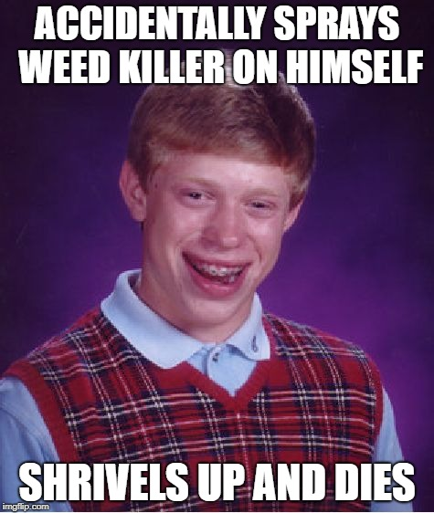 Poor little weedy Brian... | ACCIDENTALLY SPRAYS WEED KILLER ON HIMSELF SHRIVELS UP AND DIES | image tagged in memes,bad luck brian,gardening,weed man | made w/ Imgflip meme maker