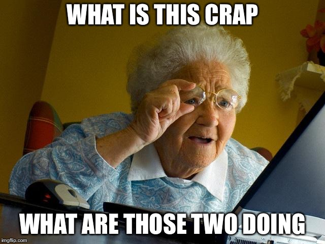 Grandma Finds The Internet Meme | WHAT IS THIS CRAP WHAT ARE THOSE TWO DOING | image tagged in memes,grandma finds the internet | made w/ Imgflip meme maker