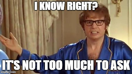 Austin Powers Honestly Meme | I KNOW RIGHT? IT'S NOT TOO MUCH TO ASK | image tagged in memes,austin powers honestly | made w/ Imgflip meme maker