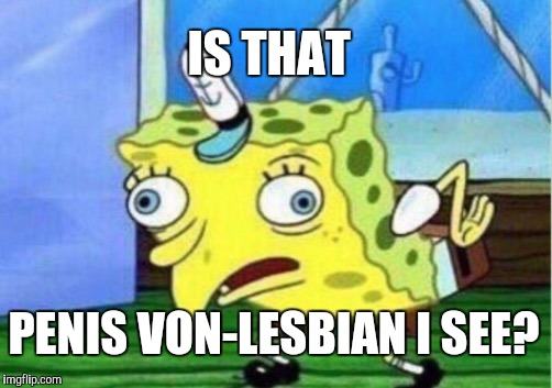 Mocking Spongebob Meme | IS THAT P**IS VON-LESBIAN I SEE? | image tagged in memes,mocking spongebob | made w/ Imgflip meme maker