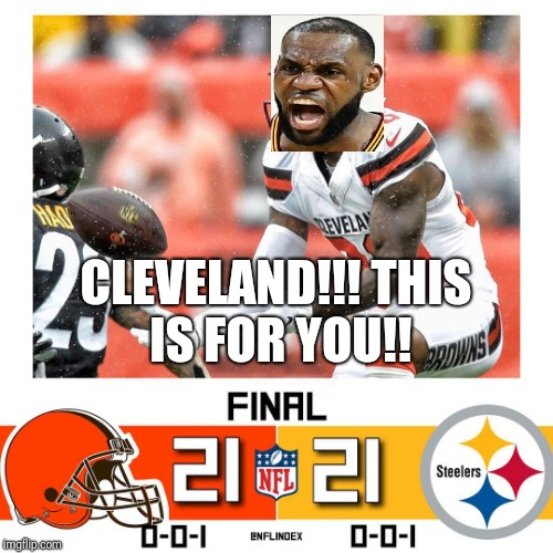 CLEVELAND CHAMPIONSHIP |  CLEVELAND!!! THIS IS FOR YOU!! | image tagged in cleveland browns,pittsburgh steelers,nfl memes,nfl football,nfl,lebron james | made w/ Imgflip meme maker