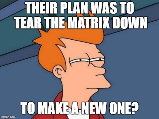 Futurama Fry Meme | THEIR PLAN WAS TO TEAR THE MATRIX DOWN TO MAKE A NEW ONE? | image tagged in memes,futurama fry | made w/ Imgflip meme maker