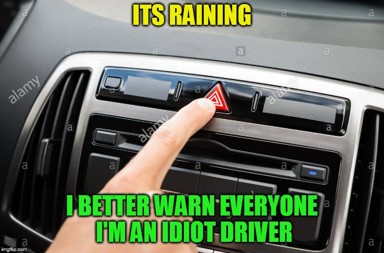 ITS RAINING I BETTER WARN EVERYONE I'M AN IDIOT DRIVER | made w/ Imgflip meme maker