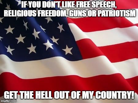 Social Justice Warriors, I'm talking to YOU! | IF YOU DON'T LIKE FREE SPEECH, RELIGIOUS FREEDOM, GUNS OR PATRIOTISM GET THE HELL OUT OF MY COUNTRY! | image tagged in american flag,memes,politics,america,social justice warriors,patriotic | made w/ Imgflip meme maker
