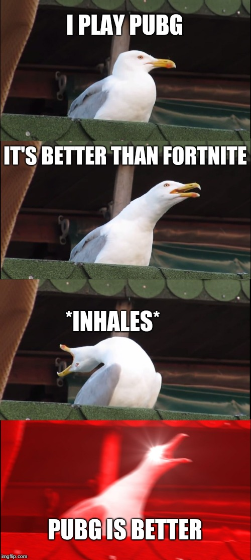IM BACK AND PREFERE PUBG | I PLAY PUBG IT'S BETTER THAN FORTNITE *INHALES* PUBG IS BETTER | image tagged in memes,inhaling seagull,fortnite,pubg | made w/ Imgflip meme maker