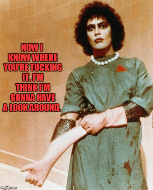 Rocky Horror Glove Snap | NOW I KNOW WHERE YOU'RE TUCKING IT. I'M THINK I'M GONNA HAVE A LOOK AROUND. | image tagged in rocky horror glove snap | made w/ Imgflip meme maker