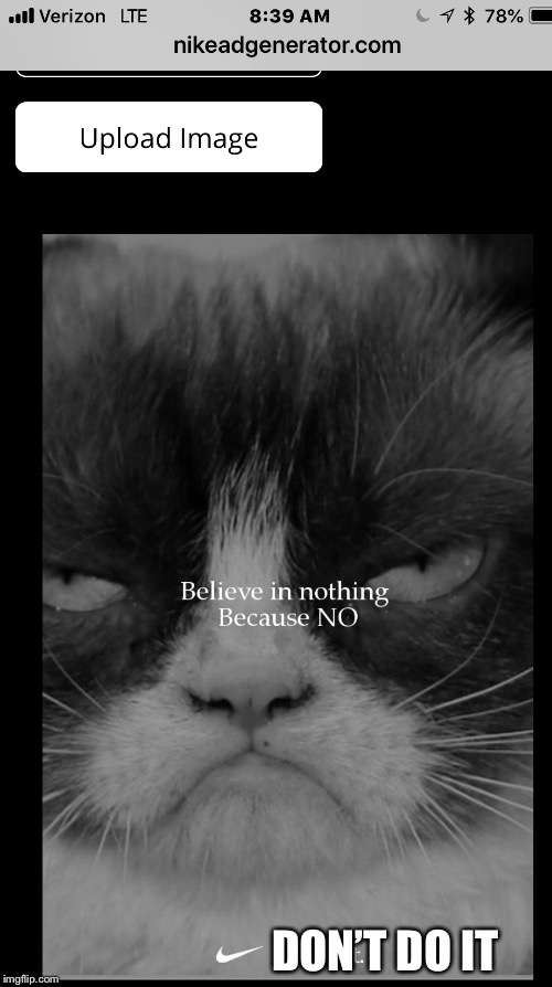 No | DON'T DO IT | image tagged in grumpy cat,nike,colin kaepernick oppressed,funny memes | made w/ Imgflip meme maker