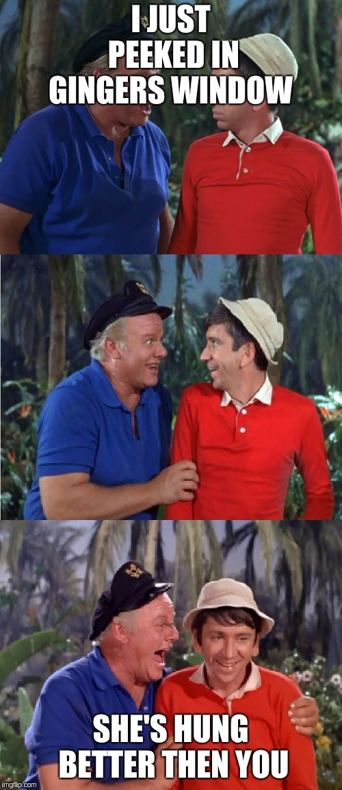 Gilligan Bad Pun | I JUST PEEKED IN GINGERS WINDOW SHE'S HUNG BETTER THEN YOU | image tagged in gilligan bad pun | made w/ Imgflip meme maker