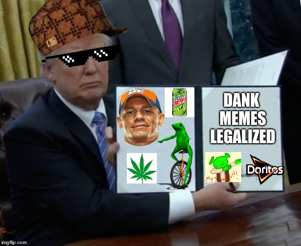 Trump Bill Signing Meme | DANK MEMES LEGALIZED | image tagged in memes,trump bill signing,scumbag | made w/ Imgflip meme maker