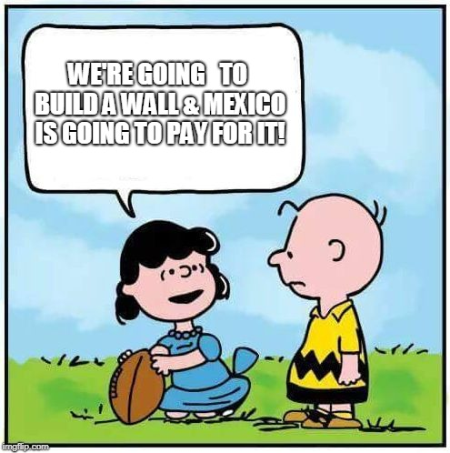 WE'RE GOING   TO BUILD A WALL & MEXICO IS GOING TO PAY FOR IT! | image tagged in charlie brown football | made w/ Imgflip meme maker
