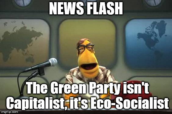 Muppet News Flash | NEWS FLASH The Green Party isn't Capitalist, it's Eco-Socialist | image tagged in muppet news flash,green party,socialism | made w/ Imgflip meme maker