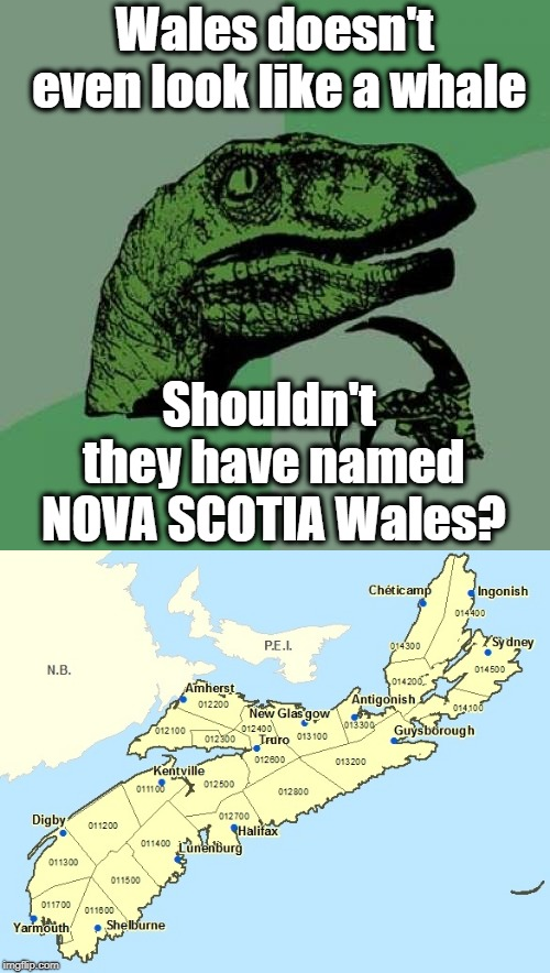 Wales doesn't even look like a whale Shouldn't they have named NOVA SCOTIA Wales? | made w/ Imgflip meme maker