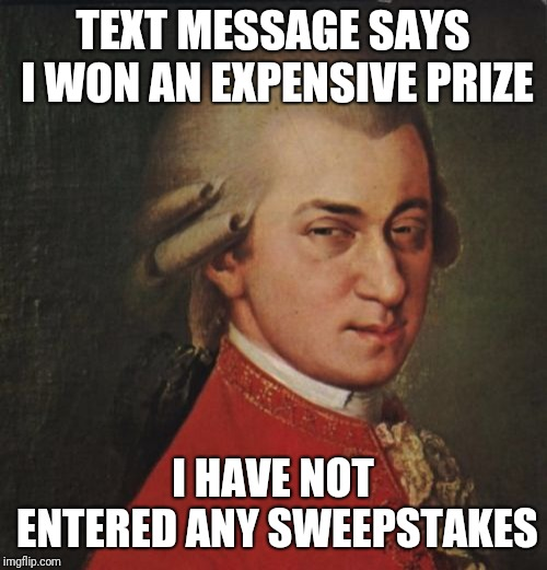 Mozart Not Sure | TEXT MESSAGE SAYS I WON AN EXPENSIVE PRIZE I HAVE NOT ENTERED ANY SWEEPSTAKES | image tagged in memes,mozart not sure | made w/ Imgflip meme maker