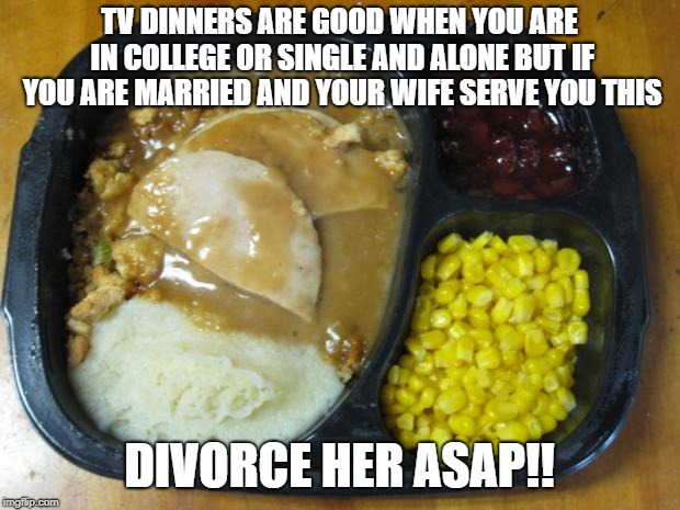 TV DINNERS ARE GOOD WHEN YOU ARE IN COLLEGE OR SINGLE AND ALONE BUT IF YOU ARE MARRIED AND YOUR WIFE SERVE YOU THIS DIVORCE HER ASAP!! | image tagged in hungryman turkey dinner | made w/ Imgflip meme maker