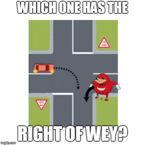 Do you know...? |  WHICH ONE HAS THE; RIGHT OF WEY? | image tagged in memes,ugandan knuckles,do you know da wae,da wae,driving,dank meme | made w/ Imgflip meme maker
